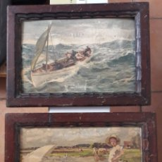 Arte: 2 LAMINAS ENMARCADAS .MUY ANTIGUAS.MARCO ANTIGUO Y ORIGINAL DE EPOCA.ARTE. PAISAJE Y MAR. Lote 198729175