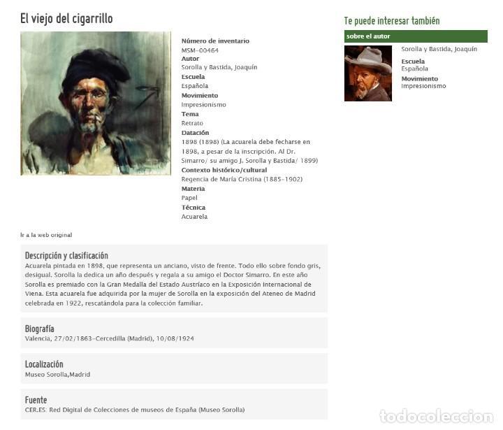 Arte: LÁMINA IMPRESA REPRODUCCIÓN 38 X 30 - EL VIEJO DEL CIGARRILLO - JOAQUIN SOROLLA - Foto 3 - 150519925