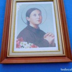 Arte: SANTA GEMA. EN MARCO DE MADERA DE 36 X 27 CM, CRISTAL, PASPARTÚ TRASERA DE MADERA.. Lote 150648958
