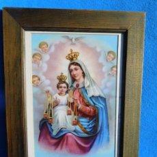 Arte: VIRGEN DEL CARMEN, MARCO DE MADERA 36X27 CM, CON CRISTAL, PASPARTÚ, TRASERA DE MADERA.. Lote 150701210