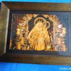 Arte: CUADRO DE UNA IMAGEN DE LA VIRGEN EN MARCO DE MADERA, CON CRISTAL, PASPARTÚ, TRASERA DE MADERA.. Lote 150838678