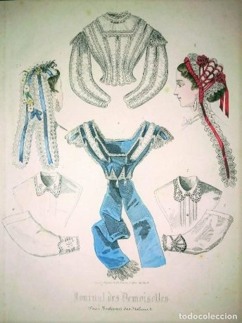 1861-1866 Lote de 11 laminas moda siglo XIX Sombreros, cofias, vestidos época, decoración, boutique