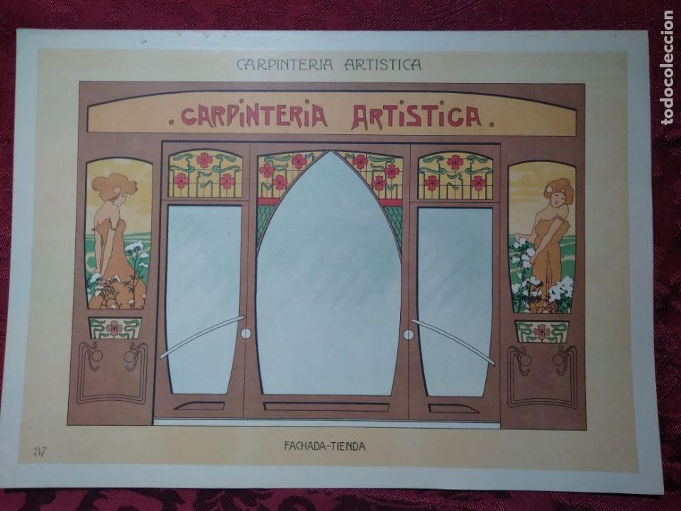 LAMINA CARPINTERIA ARTISTICA FACHADA TIENDA EPOCA MODERNISTA 1905 ANDRES AUDET Y PUIG (Arte - Láminas Antiguas)
