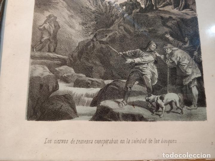 Arte: Lámina antigua enmarcada - Los siervos de vemusa conspiraban en la soledad de los bosques - - Foto 3 - 41729563