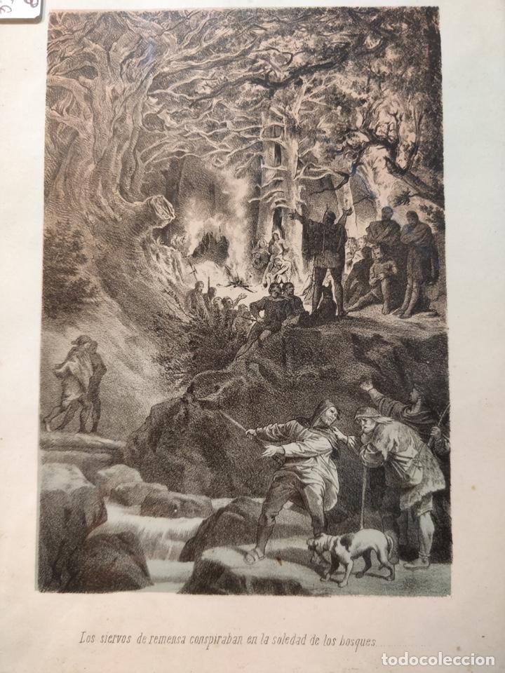 Arte: Lámina antigua enmarcada - Los siervos de vemusa conspiraban en la soledad de los bosques - - Foto 2 - 41729563