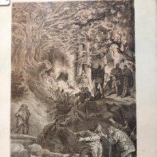 Arte: LÁMINA ANTIGUA ENMARCADA - LOS SIERVOS DE VEMUSA CONSPIRABAN EN LA SOLEDAD DE LOS BOSQUES -. Lote 41729563