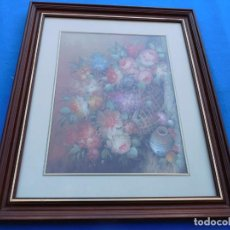 Arte: LÁMINA FLORAL MUY DECORATIVO, MARCO DE 59 X 49 DE MADERA, CON CRISTAL, PASPARTÚ, TRASERA DE MADERA.. Lote 151557022