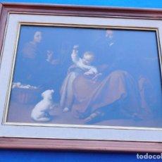 Arte: SAGRADA FAMILIA DEL PAJARITO, MARCO DE 49 X 40 DE MADERA, CON CRISTAL, PASPARTÚ, TRASERA DE MADERA.. Lote 151557318