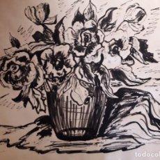 Arte: DIBUJO A TINTA -BODEGÓN DE FLORES FIRMADO PRATS. Lote 151576618