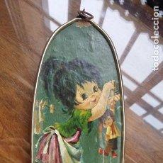 Arte: LAMINA PEGADA A TABLERO CON MARCO DE METAL DORADO. Lote 151837526