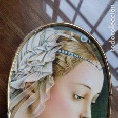 Arte: LAMINA PEGADA A TABLERO CON MARCO DE METAL DORADO. Lote 151837878