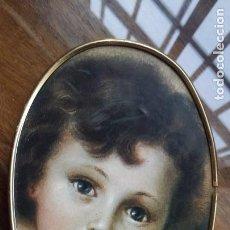 Arte: LAMINA PEGADA A TABLERO CON MARCO DE METAL DORADO. Lote 151837950