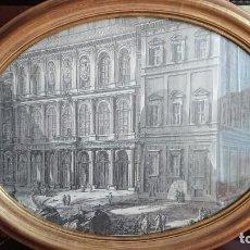 Arte: ANTIGUA LAMINA GRABADO MARCO OVALADO DE EPOCA MADERA TALLADA. Lote 152953754