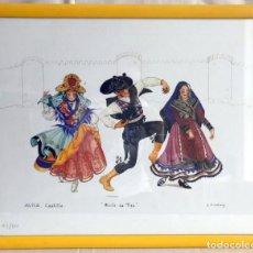 Arte: LÁMINA BAILES REGIONALES. L. ARMSTRONG. AVILA. Lote 153536686