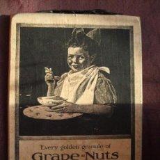 Arte: TABLA, CARTEL DE MADERA CON LITOGRAFÍA. PUBLICIDAD ANTIGUA. GRAPE NUTS. CUADRO, MARCO. Lote 153752702
