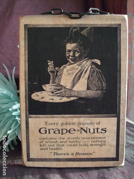 Arte: TABLA, CARTEL DE MADERA CON LITOGRAFÍA. PUBLICIDAD ANTIGUA. GRAPE NUTS. CUADRO, MARCO - Foto 2 - 153752702