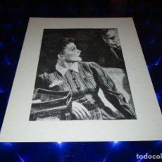 Arte: BONITA LAMINA DE MUJER MIRANDO CON ATENCION A HOMBRE CON PIPA QUE APARECE POR DETRAS. Lote 154849918