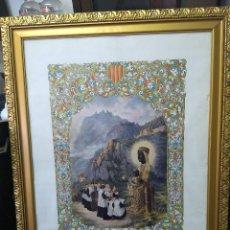 Arte: ANTIGUA LÁMINA DE LA VIRGEN DE MONTSERRAT, MONTADA EN MARCO DORADO, CON CRISTAL DELANTERO. Lote 155127058