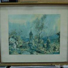 Arte: LMV - LAMINA REPRODUCCIÓN DE ACUARELA FIRMADA POR FRESQUET, PAISAJE RURAL, ENMARCADA 48X40'50 CM. Lote 155242106