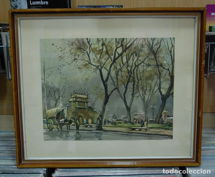 LMV - LAMINA REPRODUCCIÓN DE ACUARELA FIRMADA POR FRESQUET, PAISAJE CIUDAD, ENMARCADA 48X40'50 CM (Arte - Láminas Antiguas)