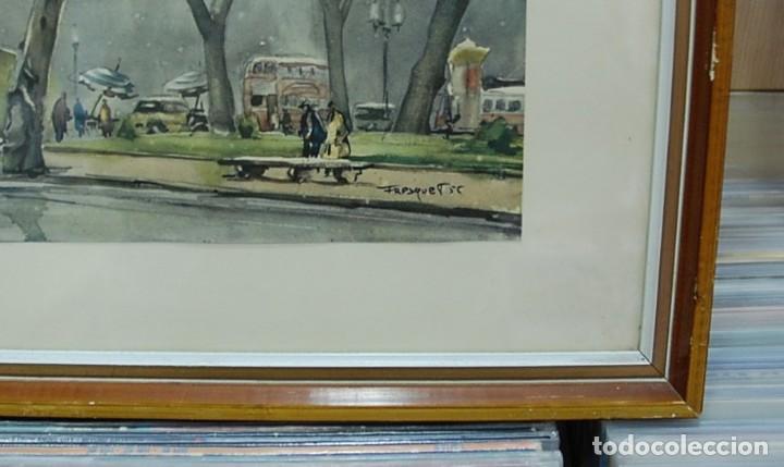 Arte: LMV - Lamina reproducción de acuarela firmada por Fresquet, paisaje ciudad, enmarcada 48x40'50 cm - Foto 2 - 155242246