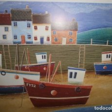 Arte: LÁMINA IMPRESA SIMON HART FISHING BOATS THE ART GROUP LIMITED LONDON 1997 MEDIDA 70 X 52 60 X 36 CM. Lote 155528814