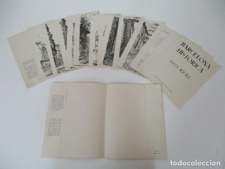 BARCELONA HISTORICA - LUÍS REÑÉ - CARPETA CON 11 LÁMINAS CON DIBUJOS - DEDICATORIA AUTÓGRAFA - 1959 (Arte - Láminas Antiguas)
