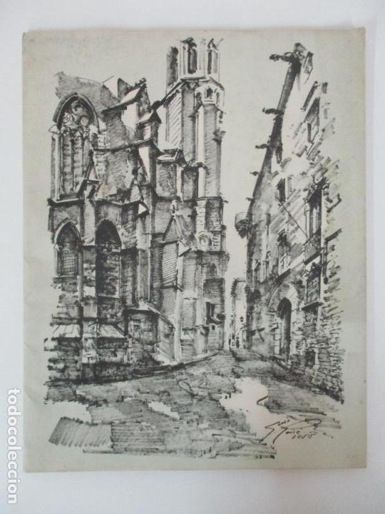 Arte: Barcelona Historica - Luís Reñé - Carpeta con 11 Láminas con dibujos - Dedicatoria Autógrafa - 1959 - Foto 2 - 156980626