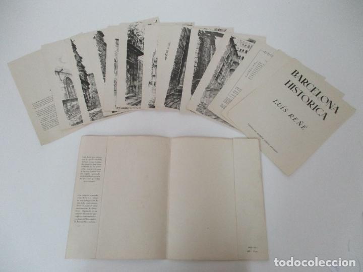 Arte: Barcelona Historica - Luís Reñé - Carpeta con 11 Láminas con dibujos - Dedicatoria Autógrafa - 1959 - Foto 4 - 156980626