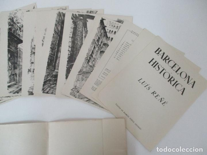 Arte: Barcelona Historica - Luís Reñé - Carpeta con 11 Láminas con dibujos - Dedicatoria Autógrafa - 1959 - Foto 5 - 156980626
