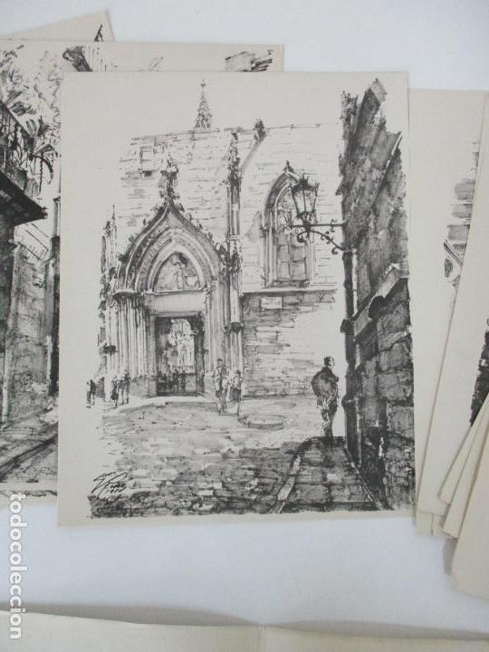 Arte: Barcelona Historica - Luís Reñé - Carpeta con 11 Láminas con dibujos - Dedicatoria Autógrafa - 1959 - Foto 8 - 156980626