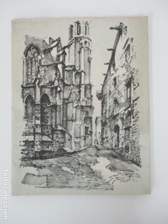 Arte: Barcelona Historica - Luís Reñé - Carpeta con 11 Láminas con dibujos - Dedicatoria Autógrafa - 1959 - Foto 12 - 156980626