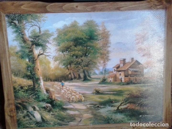 LOTE DE DOS BONITOS CUADROS LAMINAS SOBRE MADERA (Arte - Láminas Antiguas)