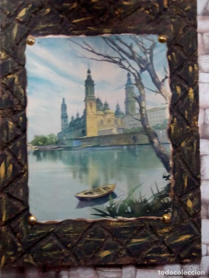 ANTIGUA LAMINA SOBRE MADERA (Arte - Láminas Antiguas)