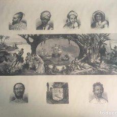 Arte: FACSÍMIL A PLUMILLA, DEL S.XVIII, DECUBRIMIENTO DE AMÉRICA Y ETNOGRAFÍA GENERAL, 65X47 CMS. Lote 160267214