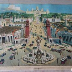 Arte: EXPOSICION INTERNACIONAL DE BARCELONA 1929. IMPRESIÓN SOBRE LIENZO. VER DESCRIPCION. VER FOTOGRAFÍAS. Lote 160785072