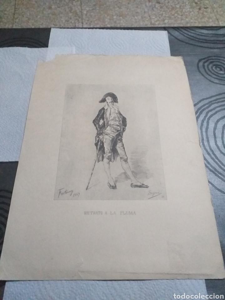 LAMINA RETRATO A LA PLUMA FORTUNY 1869 (Arte - Láminas Antiguas)