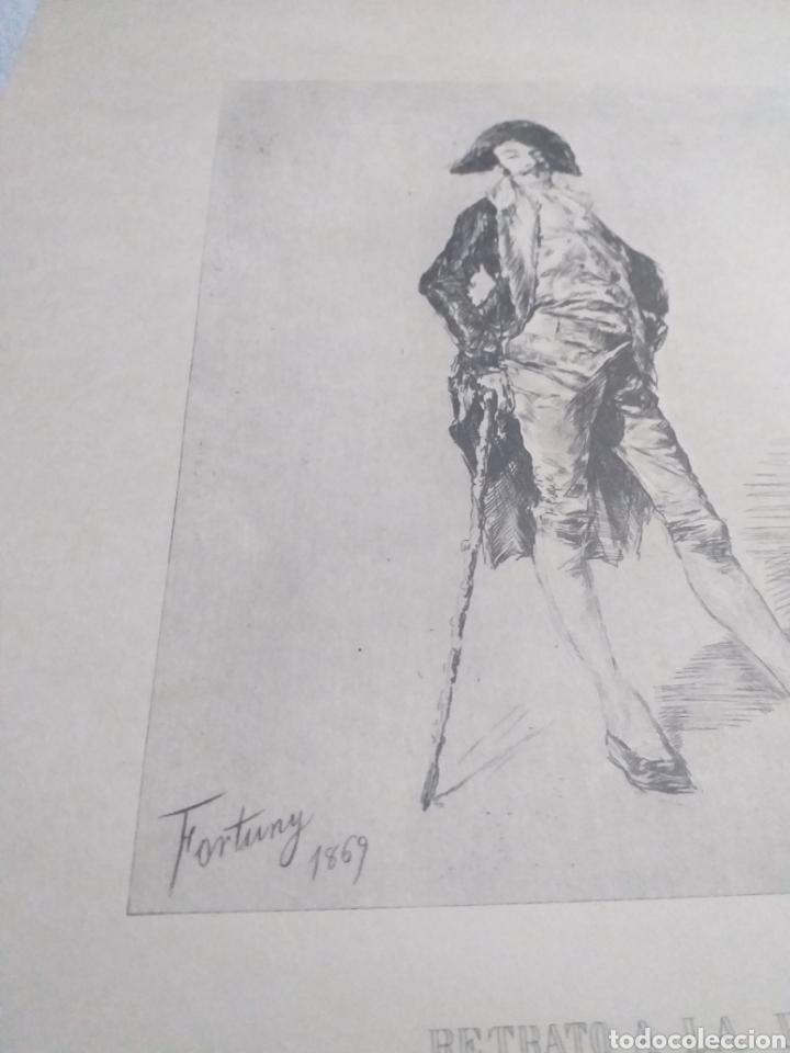 Arte: LAMINA RETRATO A LA PLUMA FORTUNY 1869 - Foto 2 - 161162646
