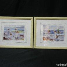 Arte: 2 CUADROS LÁMINAS MAR PLAYA ENMARCADOS DOS MARCOS MADERA CRISTAL DECORACIÓN VINTAGE. Lote 162992062