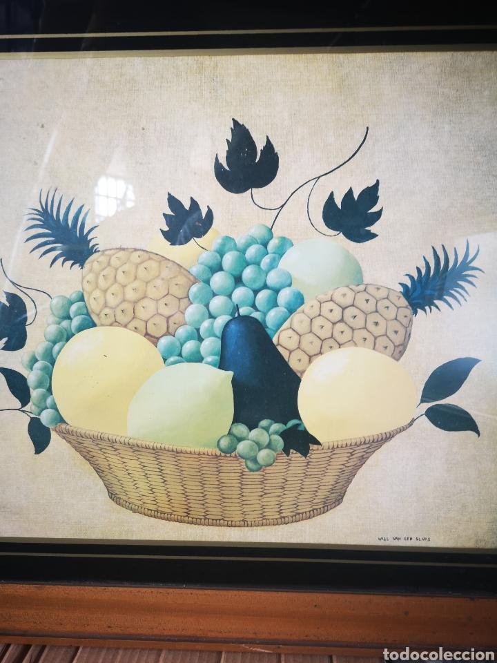 Arte: WILL VAN DER SLUIS, bodegón, cesta frutas, lamina reproducción, tamaño total 75x61 - Foto 2 - 164586162