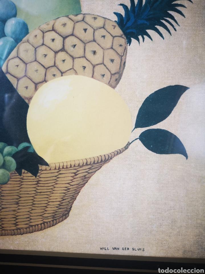 Arte: WILL VAN DER SLUIS, bodegón, cesta frutas, lamina reproducción, tamaño total 75x61 - Foto 3 - 164586162