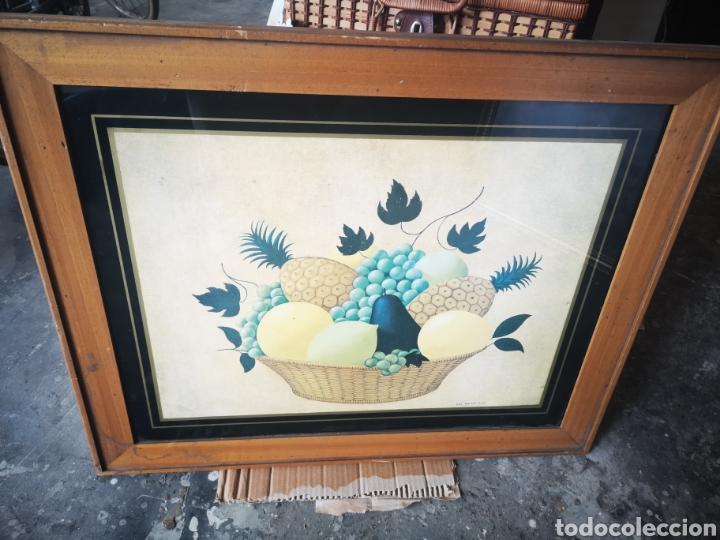 Arte: WILL VAN DER SLUIS, bodegón, cesta frutas, lamina reproducción, tamaño total 75x61 - Foto 5 - 164586162