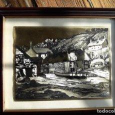 Arte: ALDEA PESQUERA 1. GRABADO EN NEGRO SOBRE LÁMINA DORADA.. Lote 164843962