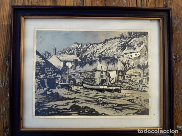 Arte: Aldea pesquera 1. Grabado en negro sobre lámina dorada. - Foto 2 - 164843962