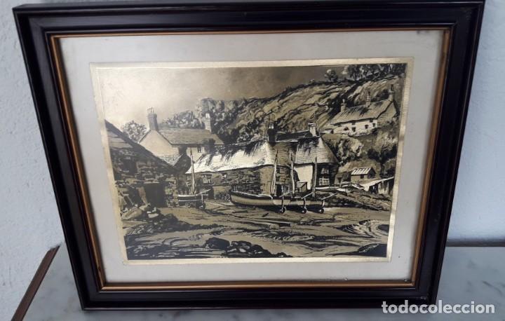 Arte: Aldea pesquera 1. Grabado en negro sobre lámina dorada. - Foto 7 - 164843962