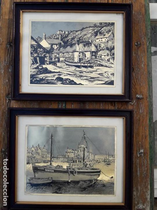 Arte: Aldea pesquera 1. Grabado en negro sobre lámina dorada. - Foto 8 - 164843962