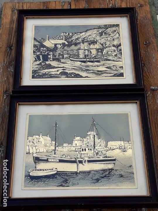 Arte: Aldea pesquera 1. Grabado en negro sobre lámina dorada. - Foto 9 - 164843962