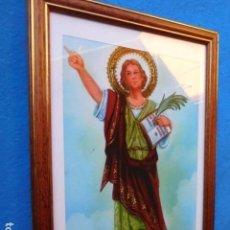 Arte: SAN PATRICIO, ENMARCADA EN CUADRO DE MADERA, 23 X 33 CM. PASSEPARTOUT Y CRISTAL. Lote 167528016