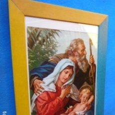 Arte: SAGRADA FAMILIA , ENMARCADA EN CUADRO DE MADERA, 23 X 33 CM. CON PASSEPARTOUT Y CRISTAL. Lote 167528740