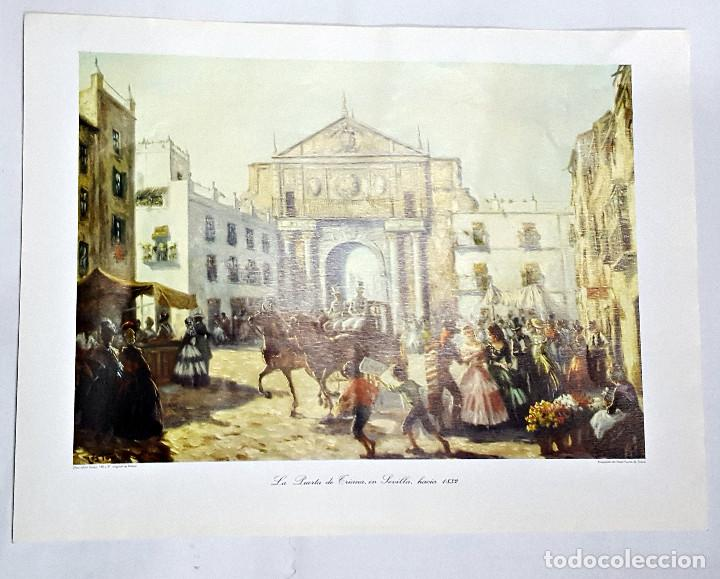 LÁMINA PUERTA DE TRIANA SEVILLA.130X97 CMS. (Arte - Láminas Antiguas)